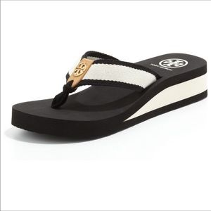 Tory Burch Ray Twill Wedge Flip Flops Size 9
